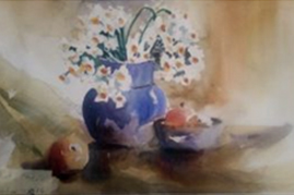 Tayebe Raeisdana<br /> Water Colour Blue pot with daffodils