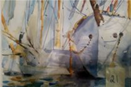 Tayebe Raeisdana<br /> Water Colour Sailing ship in Harbour
